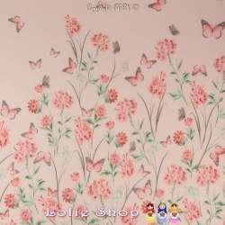 Microfibre Élasthanne Imprimé Motif  :Papillon ton Rose, Asymétrique à base, à répétition Horizontale