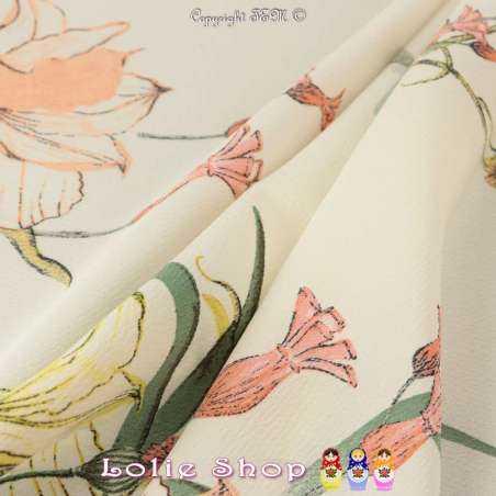 Crêpe Texturé Imprimé Motif Grandes Fleurs Fond Blanc Cassé