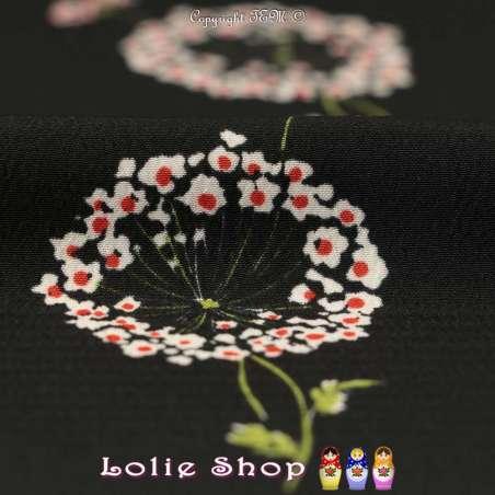 Crêpe Texturé Imprimé Fleurs de Pollen Fond Noir