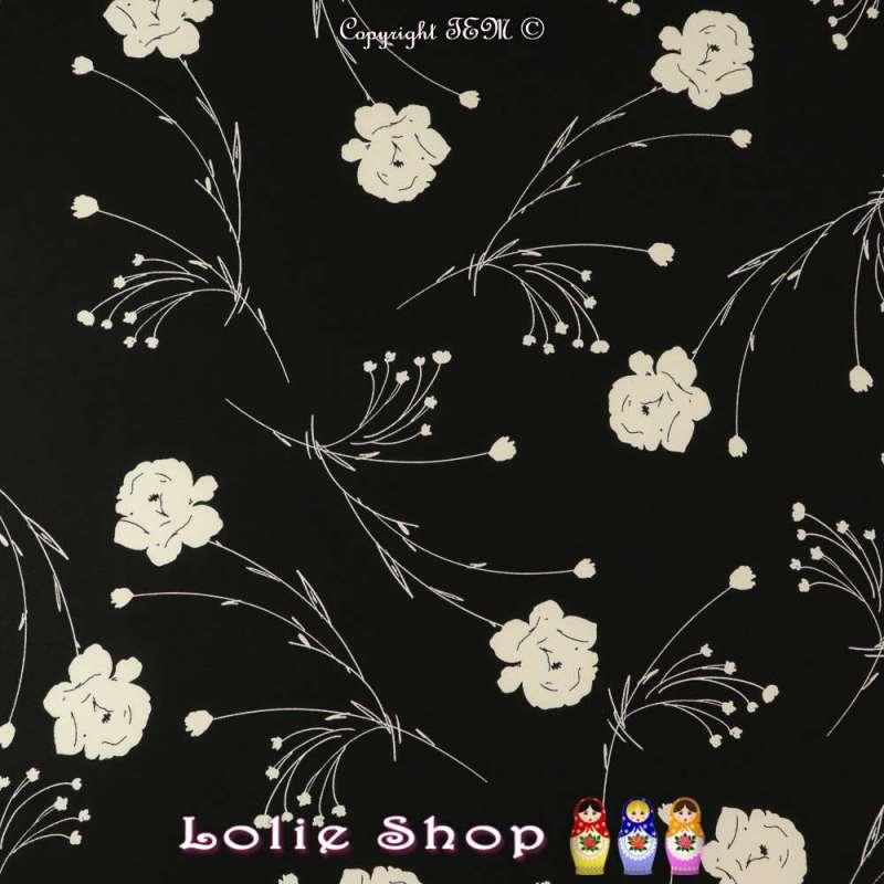 Crêpe Imprimé Fleurs à Tiges Écru Sur Fond Noir