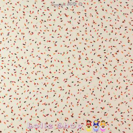 Crêpe Légère Imprimé Gouttes Multicolores Fond Écru