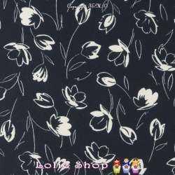 Crêpe Légère Imprimé Esquisse de Fleurs Fond Marine