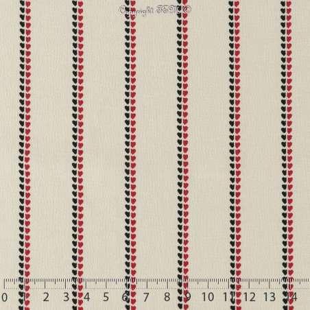 Crêpe Viscose Imprimé Modèle DELOLO Motif Lignes de Cœurs