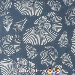 Crêpe Voile Viscose Imprimé Fleurs Graphique Fond Bleu Minéral