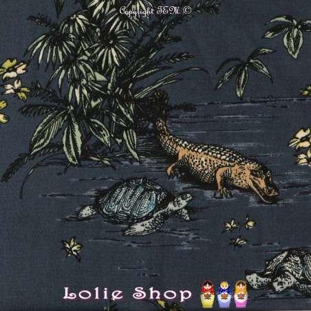Tissu Viscose Imprimé Thème MIAMI, tortues, crocodiles, Tropique...  Fond Marine