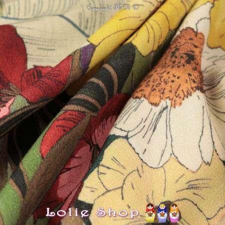 Crêpe Viscose INKANO Imprimé Motif à base Fleurs Peintes