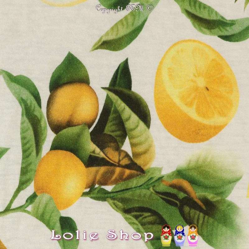 Jersey Coton Modal Imprimé Citronnier et Orchidée