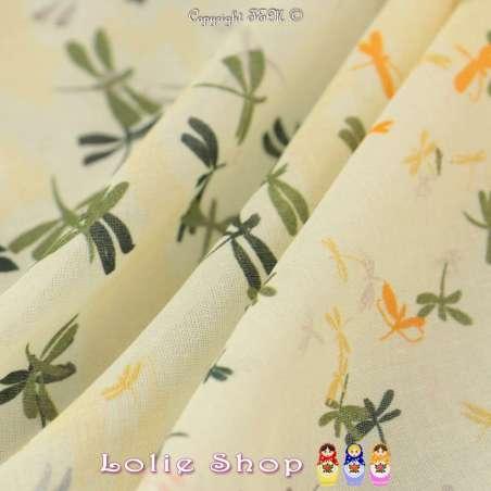 Tissu Voile De Coton Imprimé Libellules ton Jaune Pale