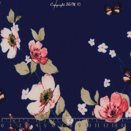 Tissus Toucher soie imprimé Fleurs fond bleu roi