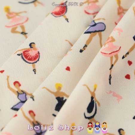 Tissus Toucher soie imprimé à base motif ballerine