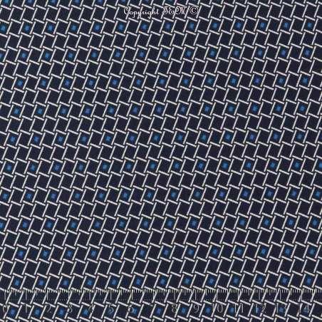 Tissus Toucher soie imprimé motif graphique ton bleu