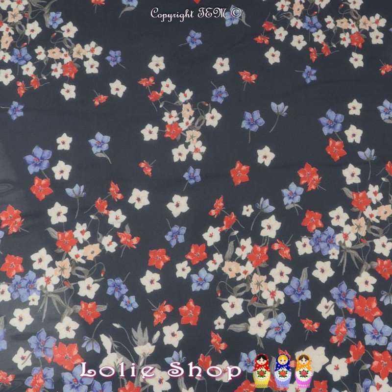 Coupon Crêpe Georgette (Transparente/Mousseline) Polyester Motif à Fleur plus chargé sur la base dans les Tons Bleu