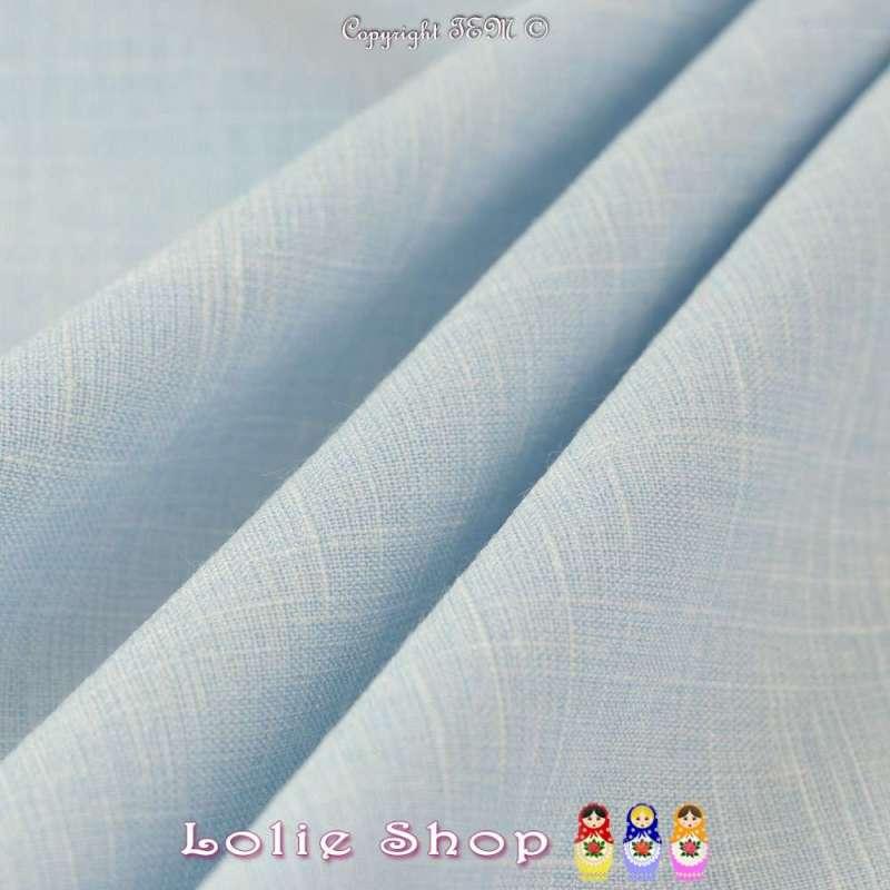 Toile épaisse de Coton Couleur Bleu Ciel, Effet Lin