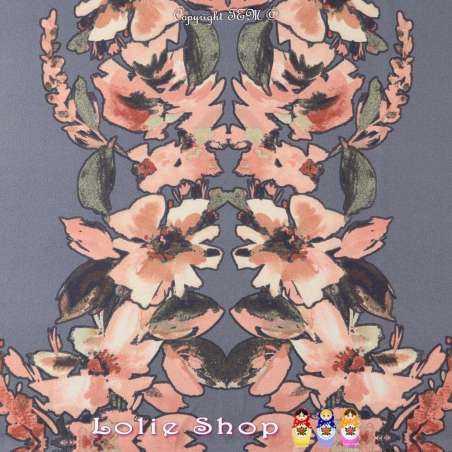 Coupon Crêpe Polyester 3 mètres à 10€ Motif placé : en 2 bandes fleuris