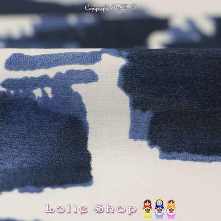 Coupon Voile de Coton Imprimé Fleurs abstraites peintes