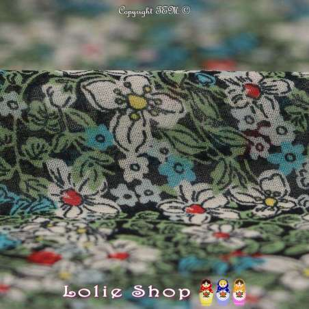 Coupon Crêpe Georgette (Transparente/Mousseline) Polyester Motif à Fleur ton vert
