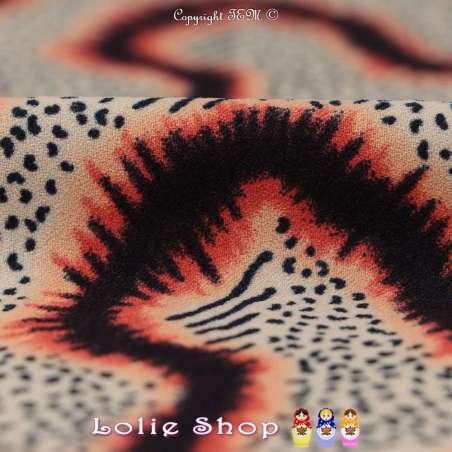 Coupon Crêpe Polyester Motif Graphique Ton Noir et Feu