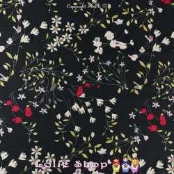 Coupon Sergé Viscose Lourd Satiné Imprimé Fleurs Fines Sur fond Noir