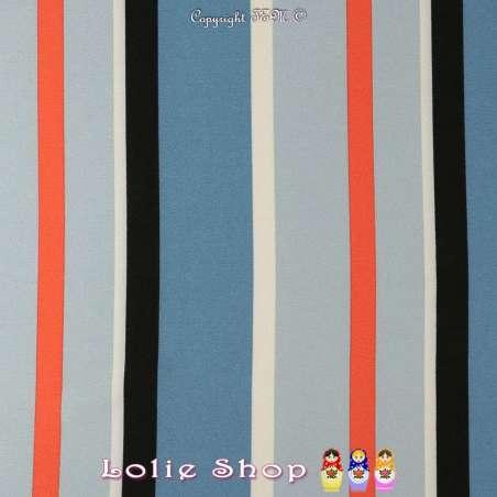 Coupon Crêpe Polyester Imprimé à rayures