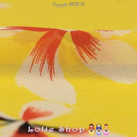 Crêpe Légère Viscose Imprimé Fleurs Fond Jaune