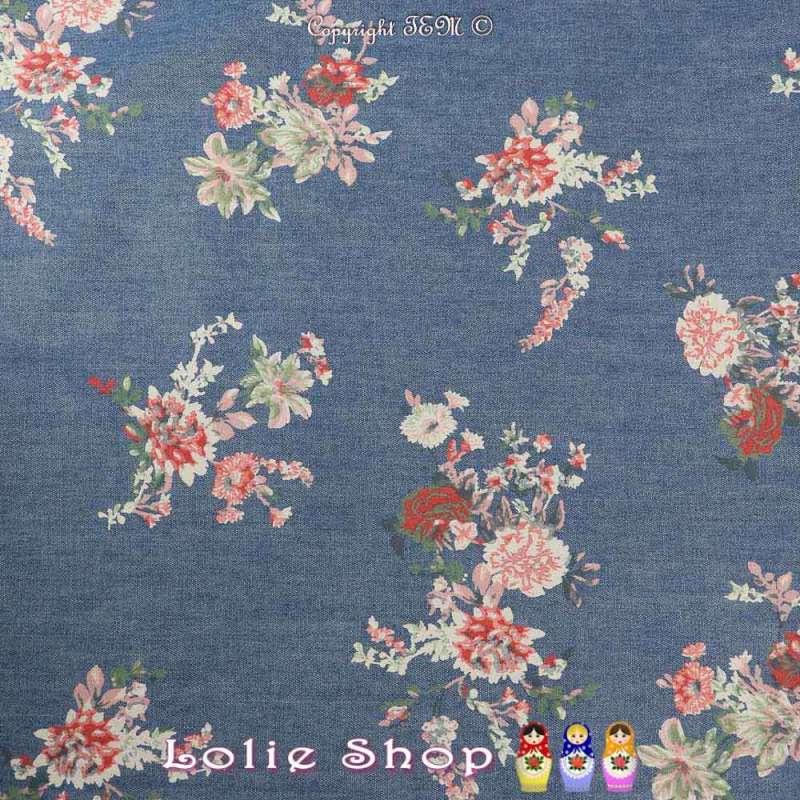 Coupon Tissu Chambray Coton Couleur Denim Imprimé compositions Fleuris