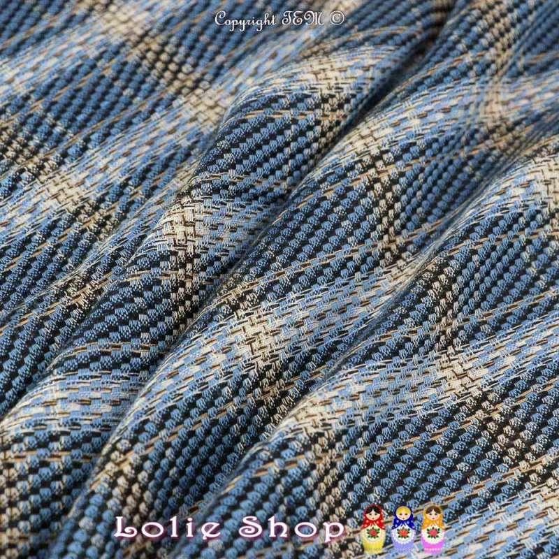Coupon Tissus Toile de Coton Natté Ton Bleu Réf 57.72