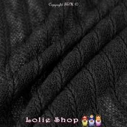 Coupon Tissu Maille Rayures Tressées Ton Noir