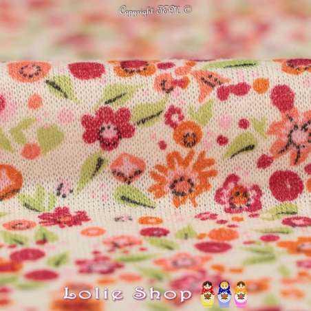 Jersey Viscose et Lin Imprimé Petites Fleurs ton Rouge