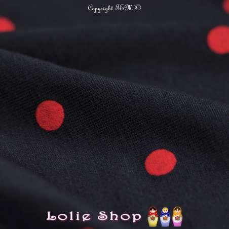 Tissu Jersey Viscose Pois Rouge