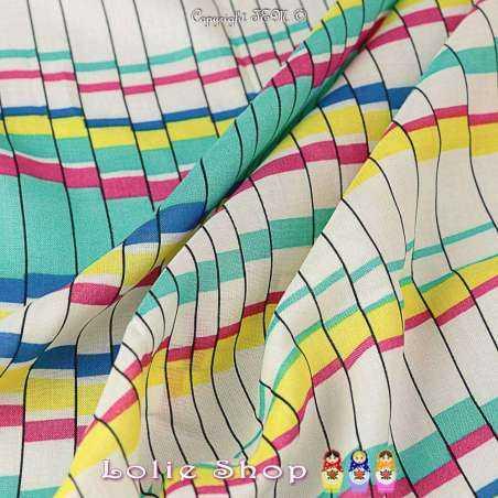 Coupon  de 3 mètres en Tissus Toile / Fibranne Viscose motif mosaïques colorés