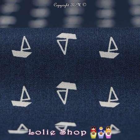 Tissu Popeline de Coton Imprimé Motif Petits Bateaux Blanc Fond Marine
