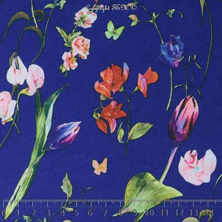 Coupon de 3 mètre à 10e de tissus Microfibre Élasthanne Imprimé Fleurs fond Bleu