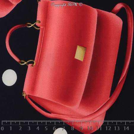 Coupon de 3 mètre à 10€ de tissus Microfibre Élasthanne Imprimé Sac à Main Rouge