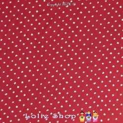 Jersey Viscose Imprimé Motif Pois en Forme de Tache Blanches sur Fond Couleur Rouge