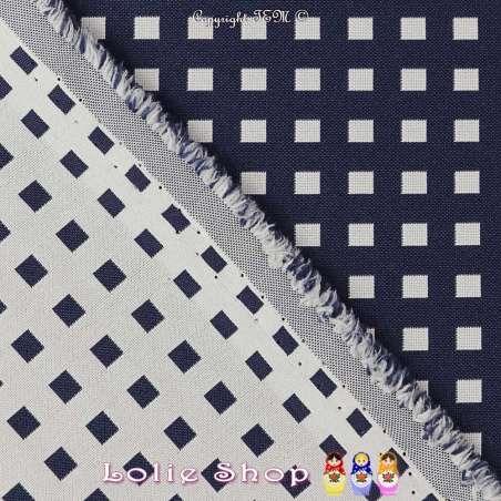 Coupon de 3 mètres de tissu Jacquard pour ameublement motif Carré Ton Marine