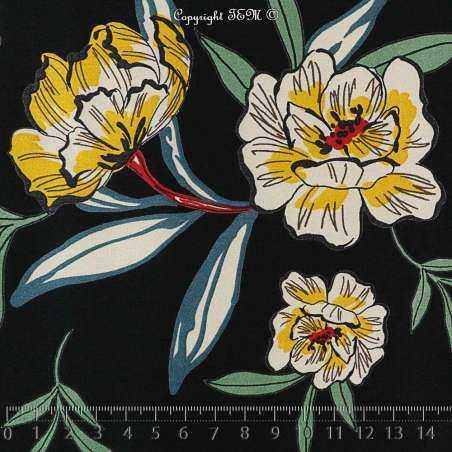 Tissu Fibranne Viscose satiné Imprimé Motif à Fleurs ton jaunes sur noir
