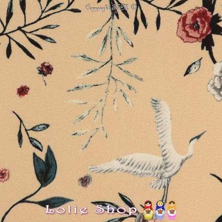 Crêpe Léger Imprimé Composition Floral et Grue
