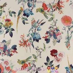 Néoprène SCUBA Crêpe Léger Imprimé Composition Floral et Paon