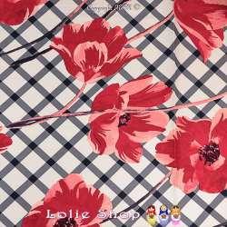 Magnifique tissu Satin de Coton Imprimé Grande fleurs Rose  et Quadrillage