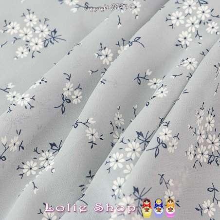 Tissu Crêpe Georgette Polyester Imprimé Motif Bouquet Floral ton Blanc sur fond gris