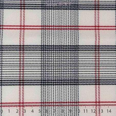 Tissu haut de gamme Crêpe Polyester Lourd Imprimé quadrillage Rouge et Noir