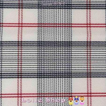 Tissu haut de gamme Crêpe Polyester Lourd quadrillage Rouge et Noir