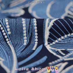 Jersey Cristal ORIA Imprimé Gomme Plumes Bleues