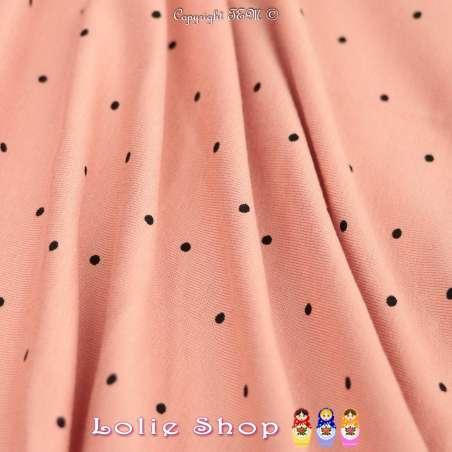 Tissu Jersey Viscose Imprimé Motif Petits Pois Noir Fond Pêche