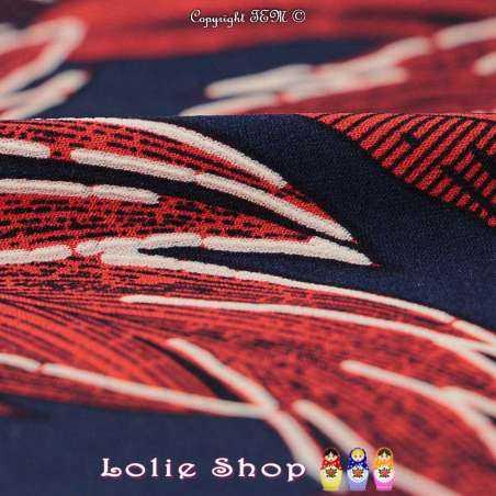 -tissu Jersey -Cristal ORIA Imprimé Gomme Plumes Rouge