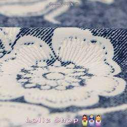 Jersey Cristal NADRA Gomme Imprimé Fleurs Blanches Fond Effet Denim