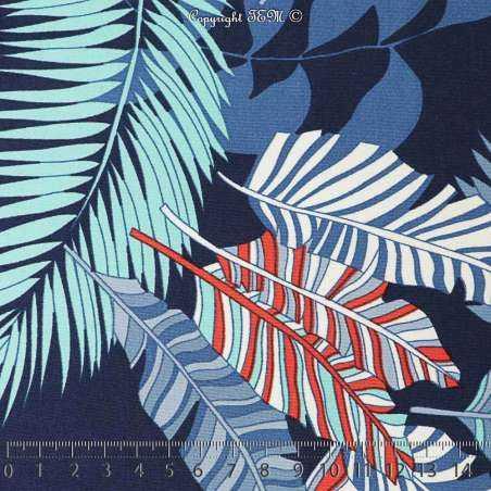 Jersey Cristal MOOREA Imprimé Palmes Fond Marine