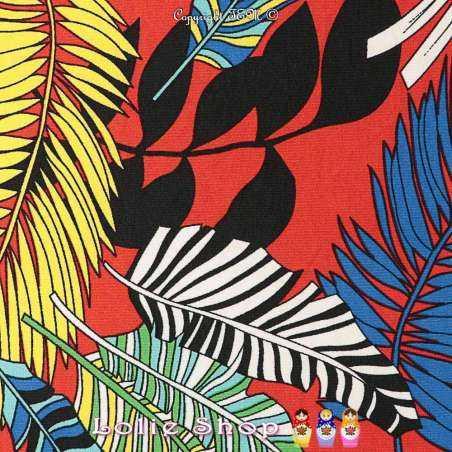 Jersey Cristal MOOREA Imprimé Palmes Fond Rouge