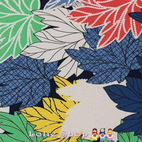 Jersey Cristal ERABLE Imprimé Gomme Grandes Feuilles Multicolores