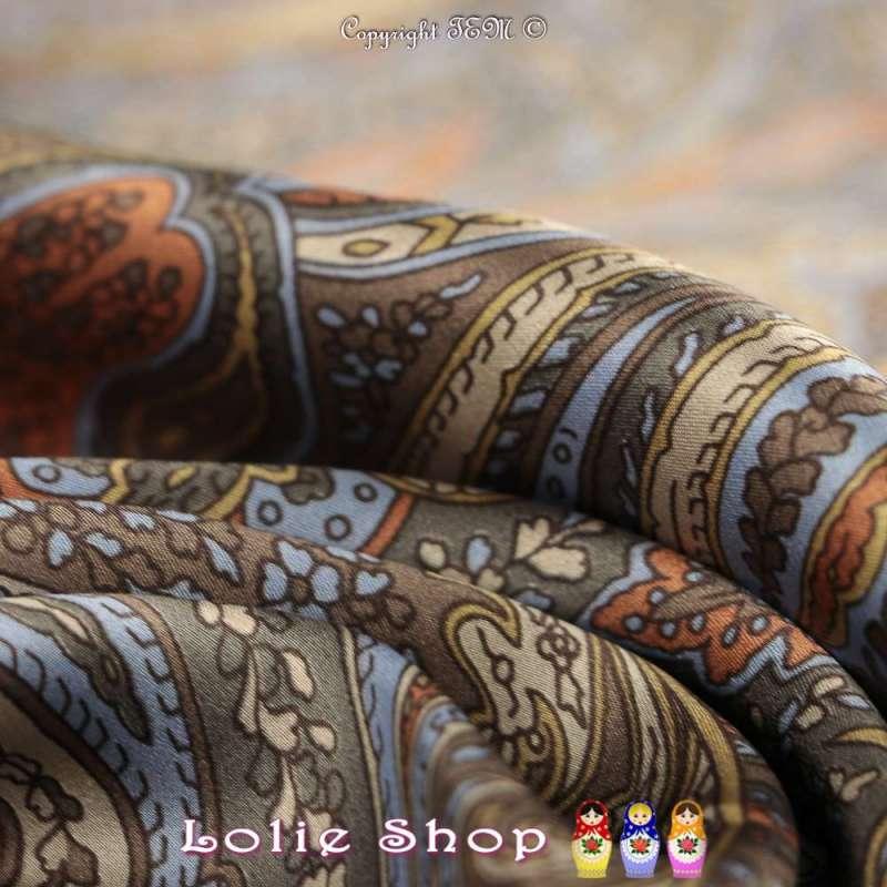 Satin de Soie HAUTE COUTURE Imprimé Modèle LEA Motif Paisley Cachemire Ton Marron